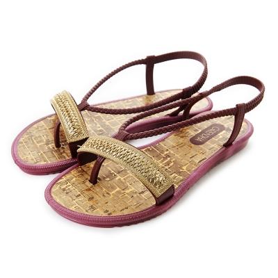 GRENDHA 金屬帶草編風平底涼鞋-葡萄紫