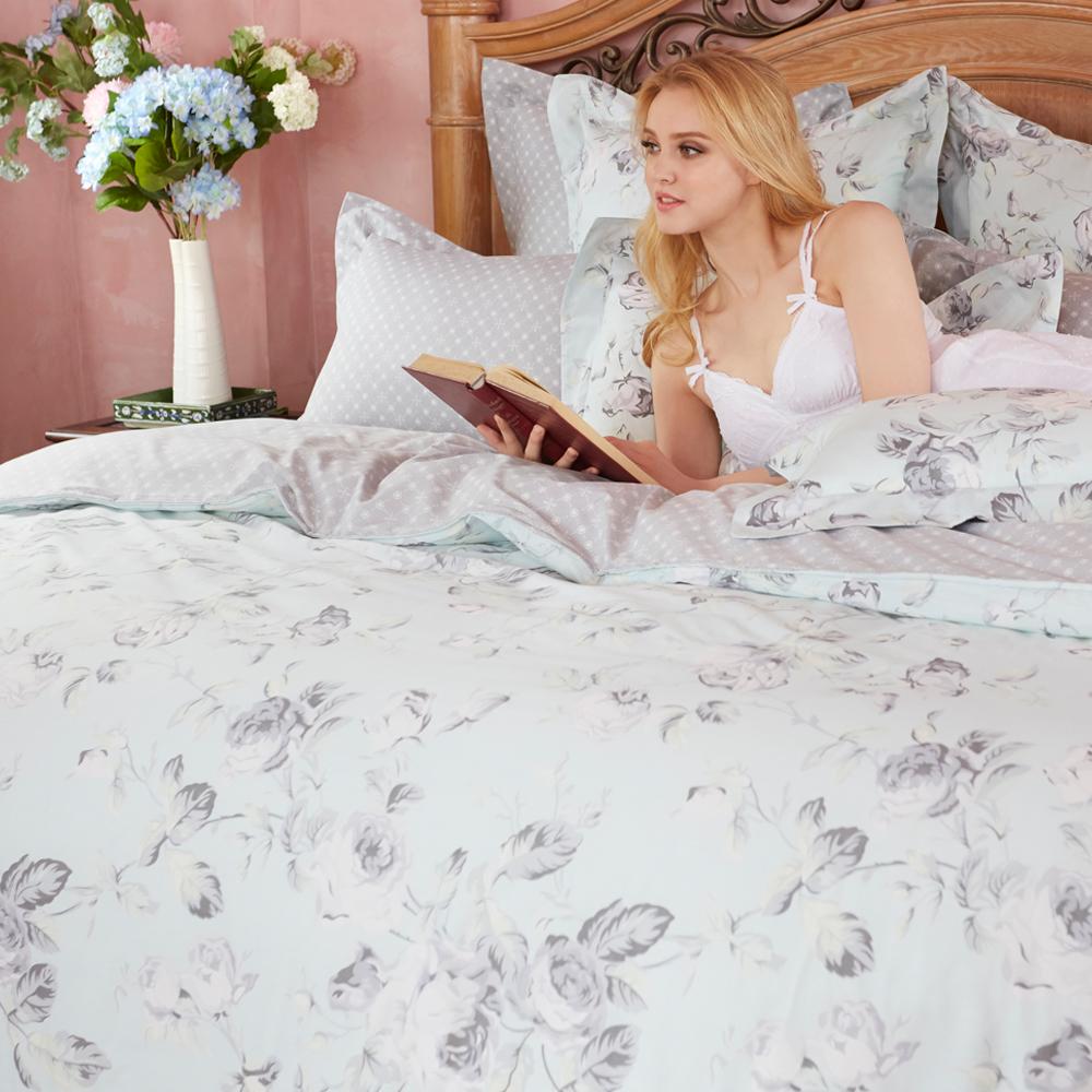 義大利La Belle 國色天香 加大四件式防蹣抗菌舖棉兩用被床包組