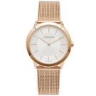 CK Calvin Klein 玫瑰金色的米蘭帶手錶(K3M22626)-銀面/35mm