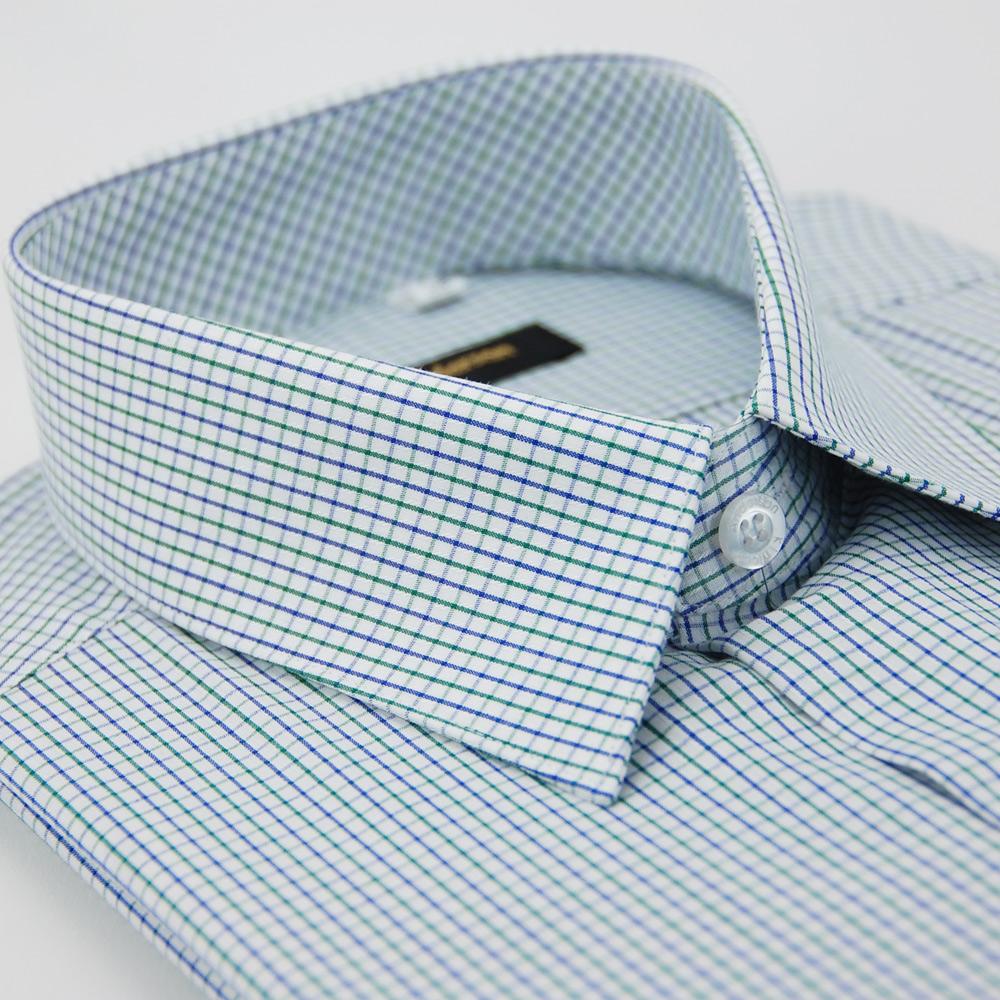 金‧安德森 藍x綠中格紋長袖襯衫