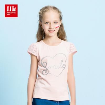JJLKIDS smile英文印花蕾絲鏤空袖T恤(粉紅)