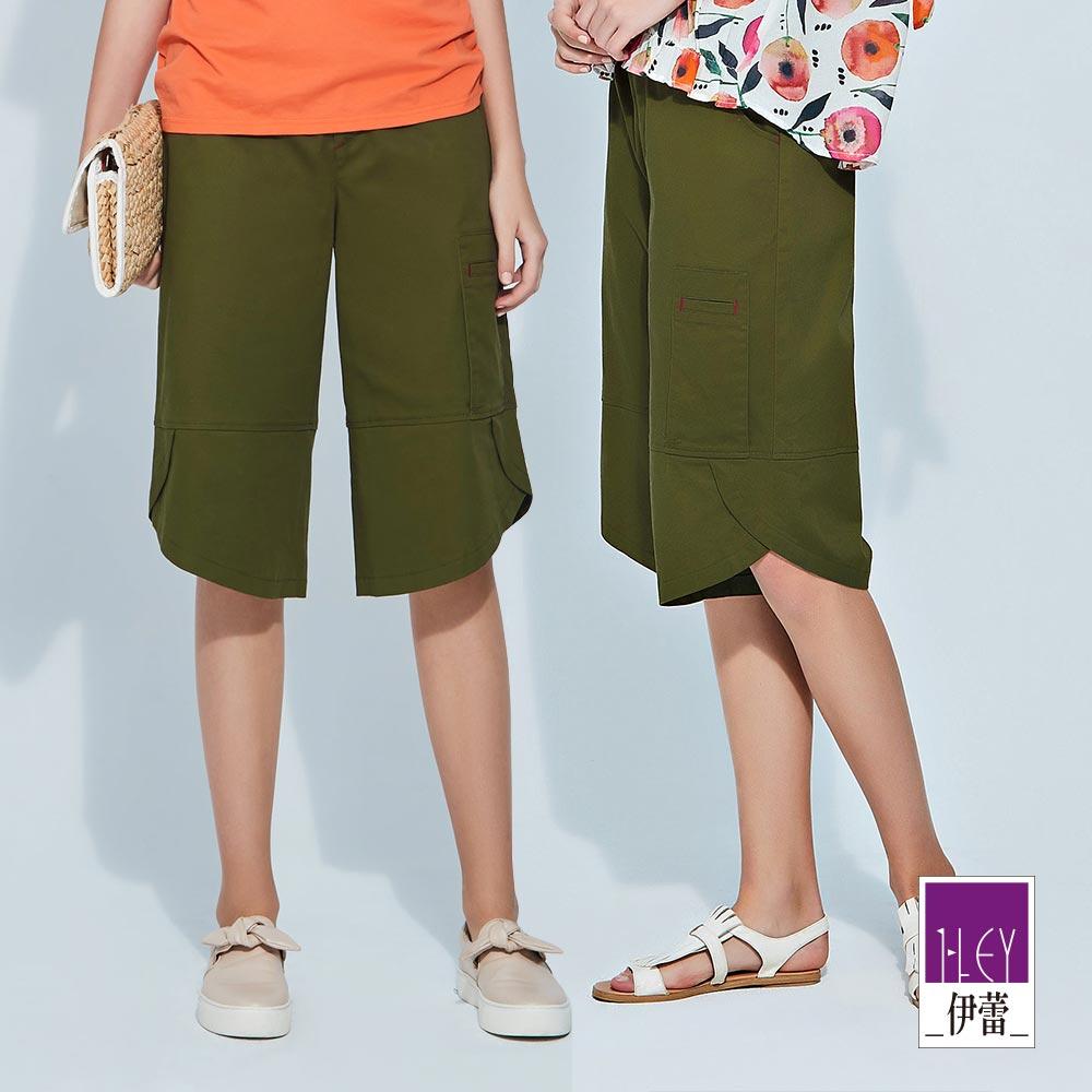 ILEY伊蕾 剪接交衩造型棉質六分寬褲(綠)