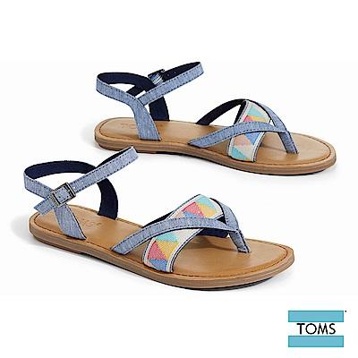 TOMS 丹寧色塊圖騰夾腳涼鞋-女款