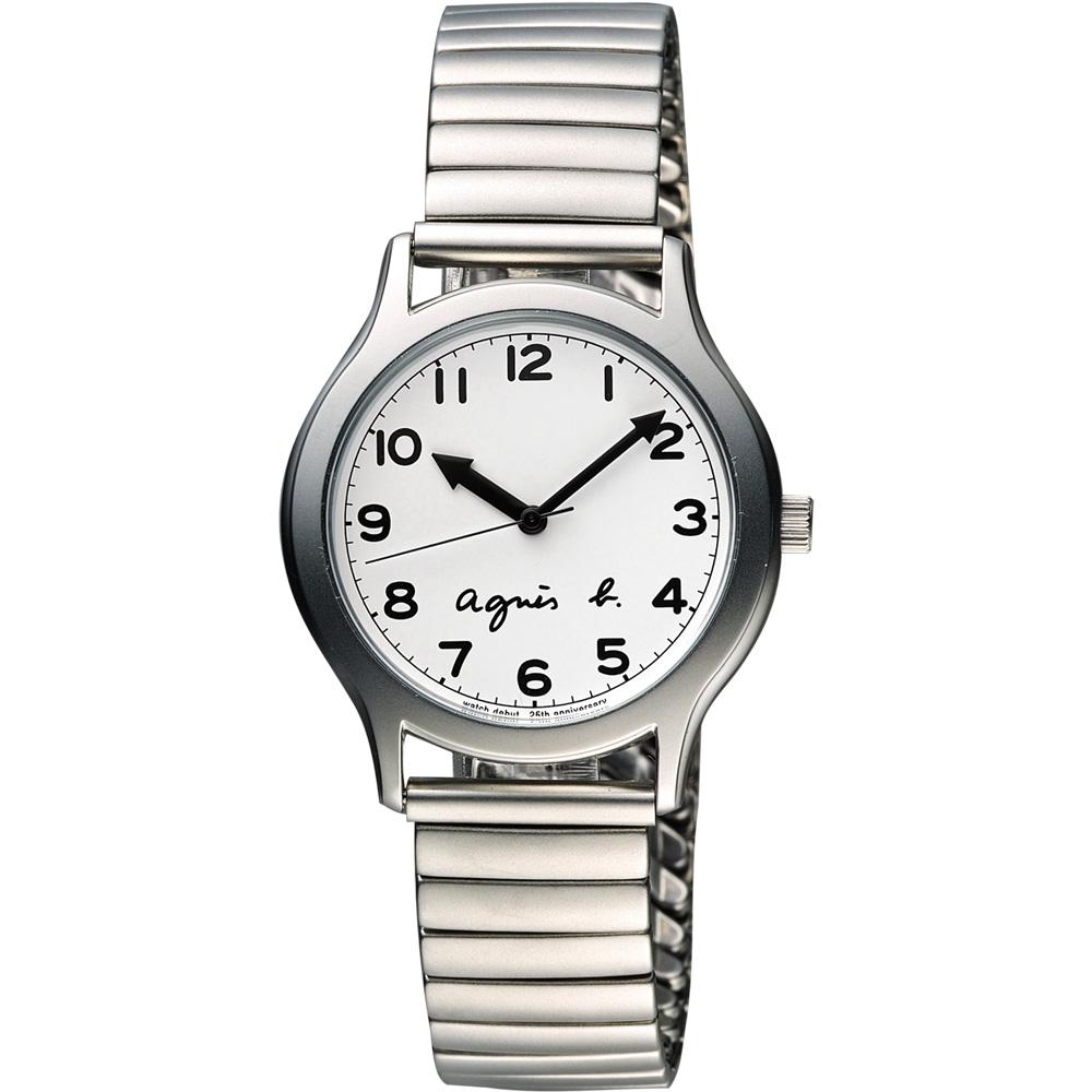 agnes b.25周年紀念復刻經典限量腕錶-白x銀34mm