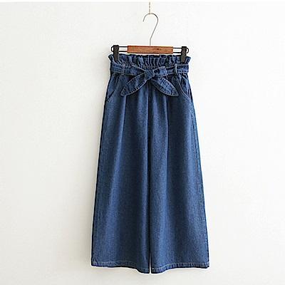 La Belleza荷葉摺皺鬆緊腰附綁帶闊腿褲牛仔寬褲
