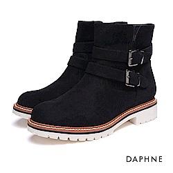 達芙妮DAPHNE 短靴-皮帶雙釦絨布厚底運動風短靴-黑