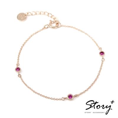 STORY-Star晶鑽系列-TwinkleStar 純銀晶鑽手鍊(黃K金)
