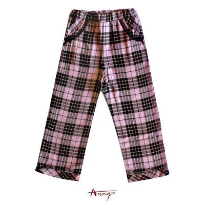 格紋蕾絲車邊雙口袋造型長褲*2269紫