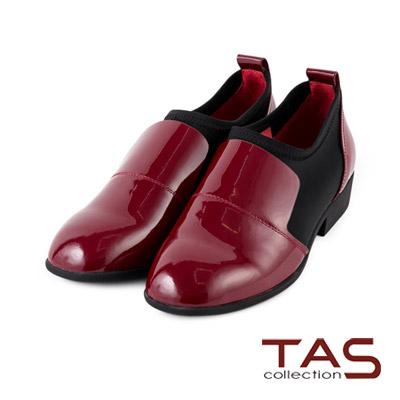 TAS-漆皮拼接彈力布復古方頭牛津鞋-古著紅