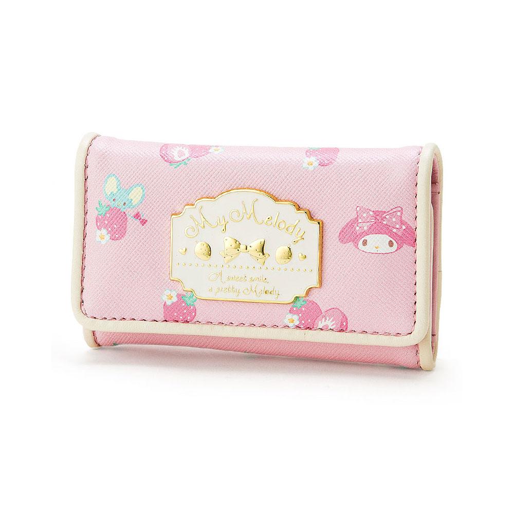Sanrio 美樂蒂PU皮革鑰匙包(草莓粉)