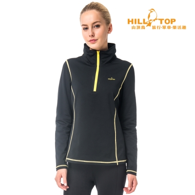 【hilltop山頂鳥】女款ZISOFIT吸濕彈性半開襟連帽刷毛上衣H51FH0黑