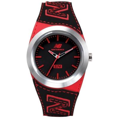New Balance  574 系列 NB LOGO皮革時尚腕錶-黑紅/ 43 mm