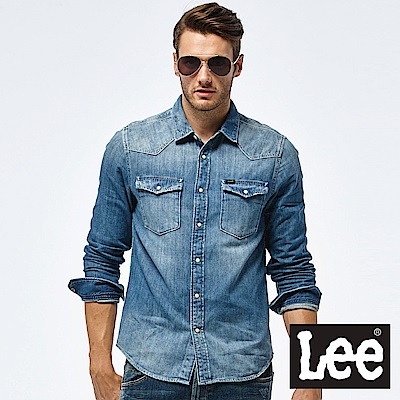 Lee 牛仔長袖襯衫-男款-中藍