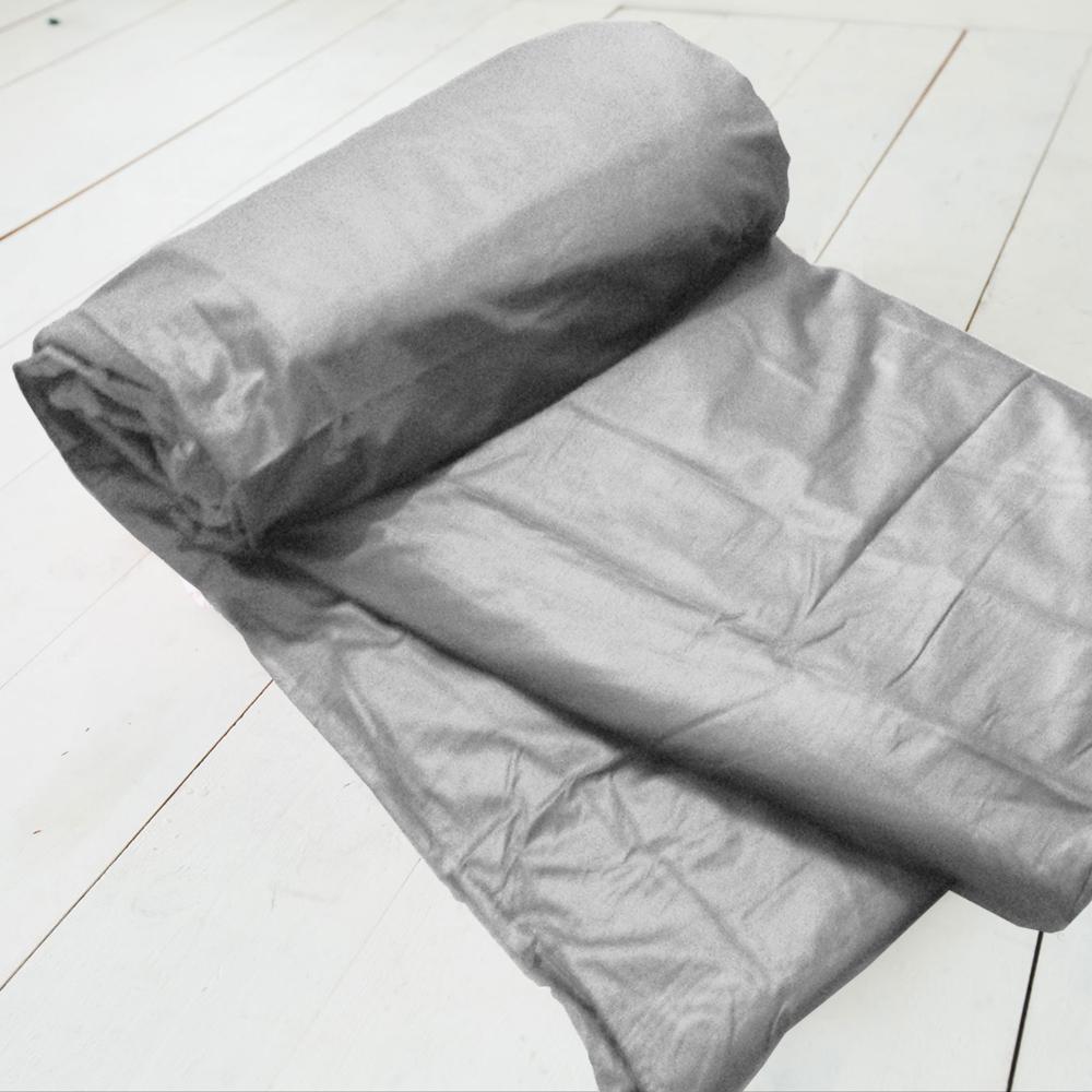 米夢家居-台灣製造-100%精梳純棉雙面素色薄被套-原野灰-7*8特大