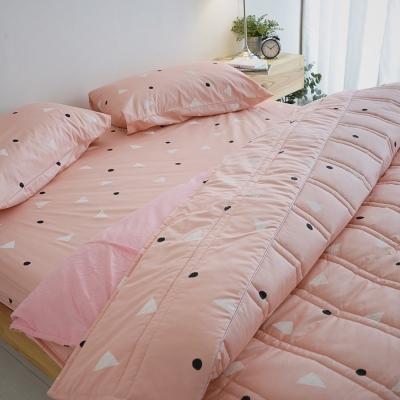 絲薇諾 207織精梳棉-法式甜派-粉色  兩用被套床包組(雙人加大)