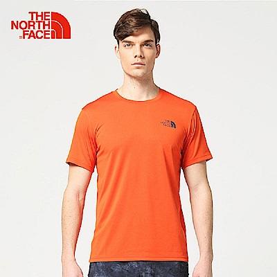 The North Face北面男款橙色吸濕排汗戶外運動短T恤