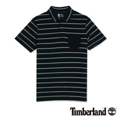 Timberland-男款藍黑色緹花條紋短袖Polo衫