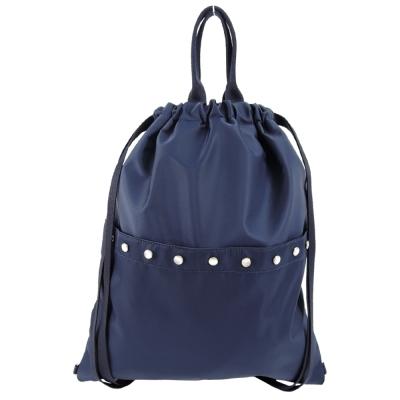 agnes b. 小B logo壓扣翻蓋束口尼龍後背包(藍)