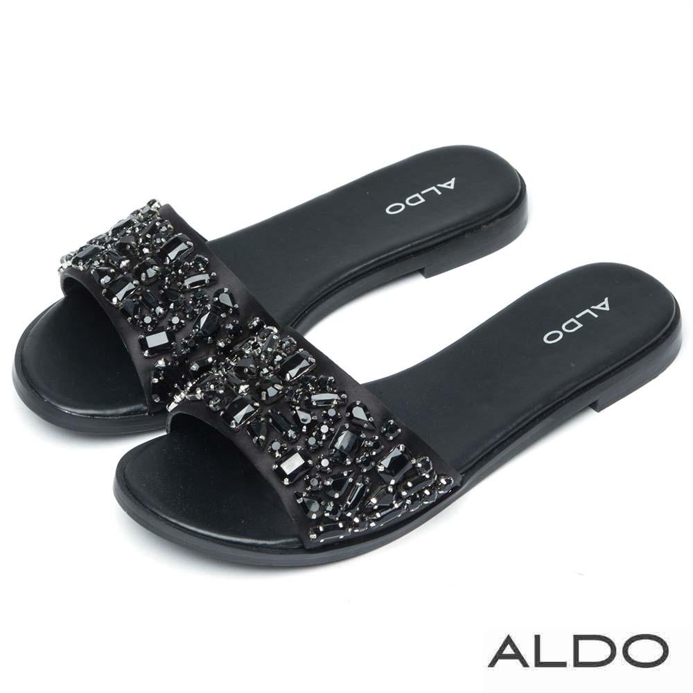 ALDO 原色緞面多切面寶石低跟涼拖鞋~尊爵黑色