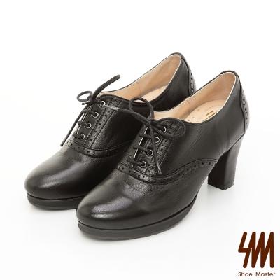 SM-英倫全真皮系列-經典微尖頭繫帶牛津踝靴-黑色