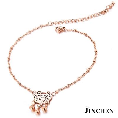 JINCHEN 白鋼富貴腳鍊 玫瑰金