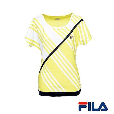 FILA女性吸排抗UV斜條紋T恤(陽光黃) 5 TER- 1006 -LN
