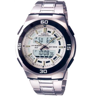 CASIO 都會光廊雙顯時區鋼帶錶(AQ-164WD-7A)-白