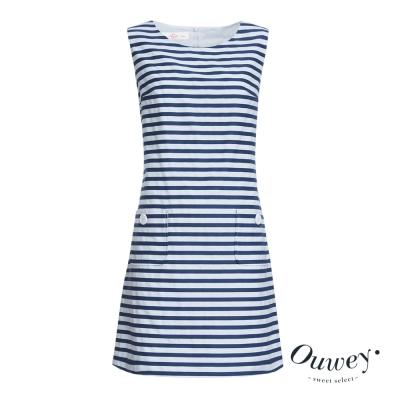 OUWEY歐薇 海洋風藍白條洋裝(藍)