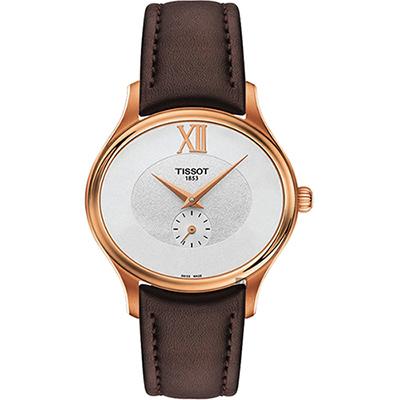 TISSOT天梭 BELLA ORA 系列小秒針女錶-玫塊金框x咖啡色/31mm