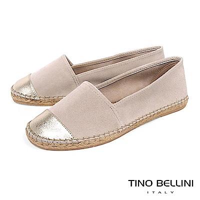 Tino Bellini 西班牙進口真皮拼接麻編休閒鞋_ 淺駝