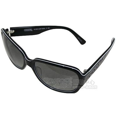 COACH 新款漸層鏡面coach刻字膠框太陽眼鏡/時尚墨鏡(附原廠浮雕眼鏡盒)-黑