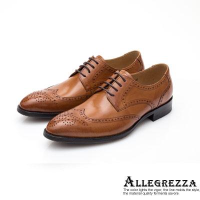 ALLEGREZZA-真皮男鞋-時髦好鞋-藝紋雕花尖頭綁帶鞋  焦糖色