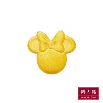 周大福 迪士尼經典系列 霧面米妮黃金耳環(單耳)