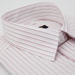 金‧安德森 白底粉紫條紋短袖襯衫