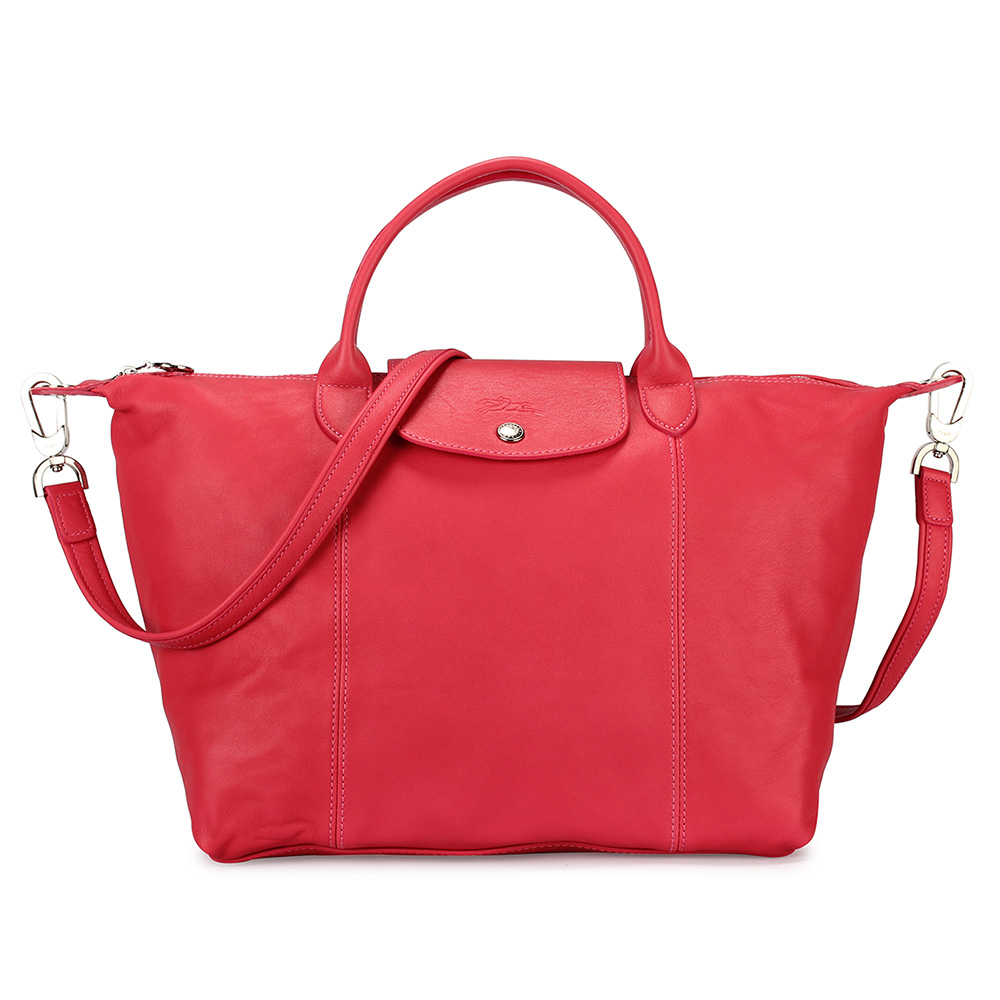 Longchamp Le Pliage Cuir小羊皮短把折疊中型水餃包-珊瑚紅