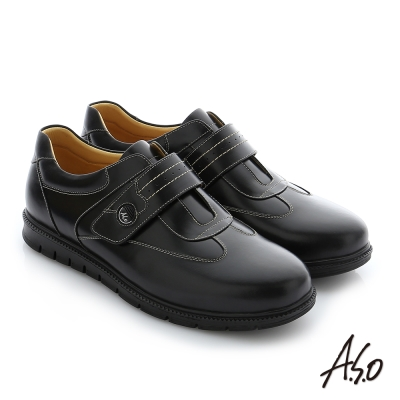 A.S.O 輕量抗震 油感牛皮魔鬼氈奈米紳士休閒鞋 黑色