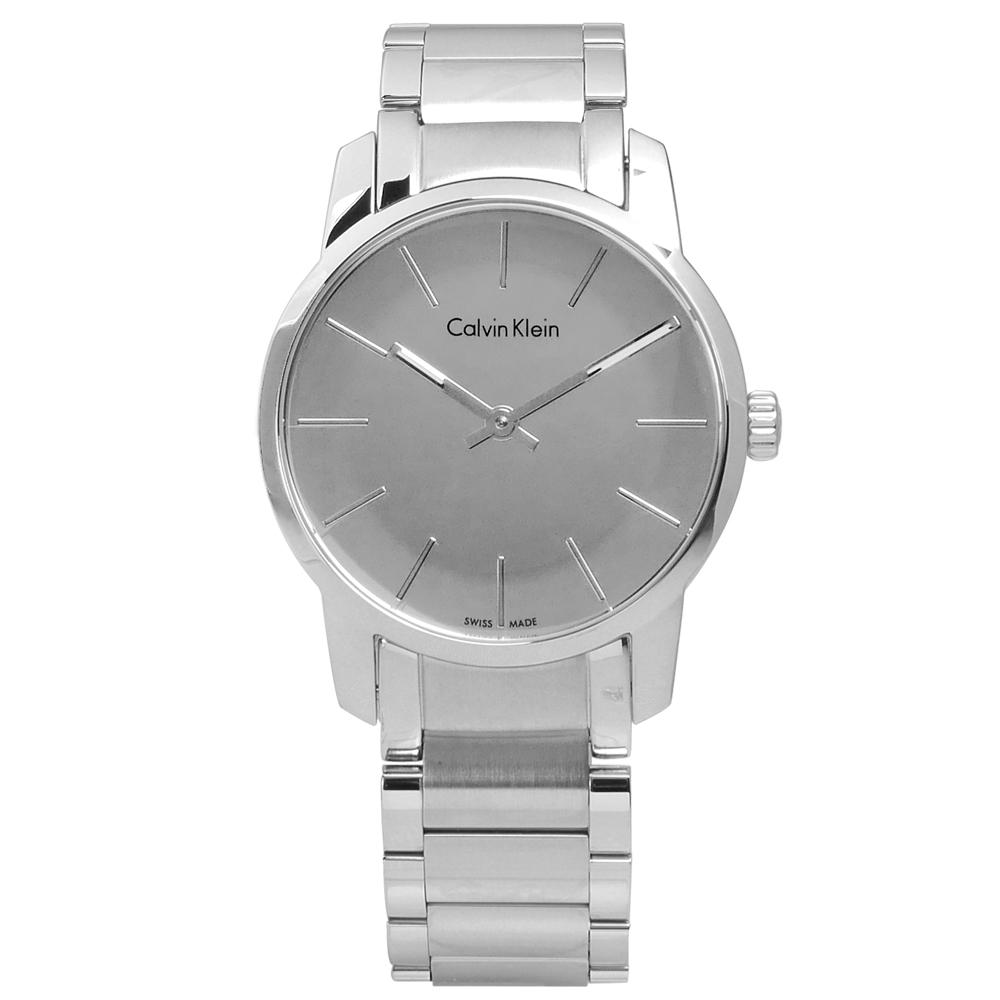 CK 都會女伶鏡面不鏽鋼腕錶-銀色/31mm