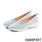 HANNFORT H-COMF五密度條紋撞色氣墊休閒鞋-女-湖水綠