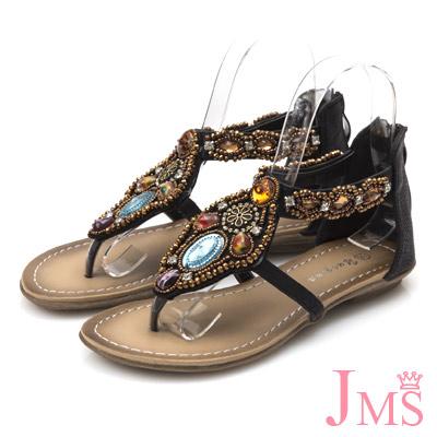 JMS-波希米亞風手作串珠平底羅馬夾腳涼鞋-黑色