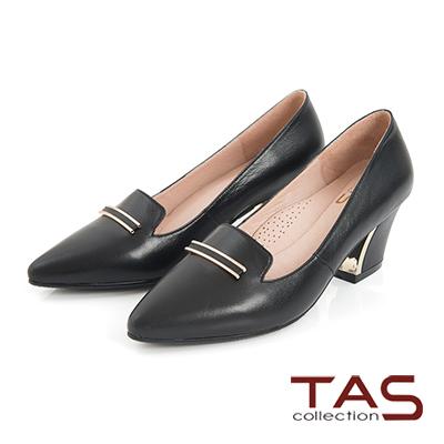 TAS-一字金屬飾扣羊皮樂福高跟鞋-簡約黑