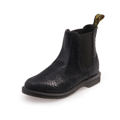 Dr.Martens FLORA-尖楦蛇紋側邊鬆緊短靴-女款-黑