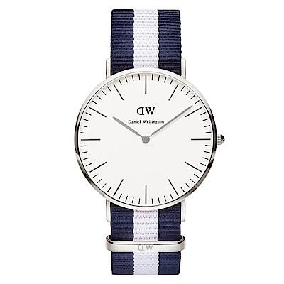 DW Daniel Wellington 經典藍白帆布錶帶(0204DW)-銀框/40mm