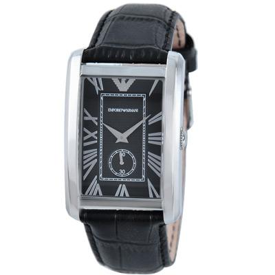 ARMANI 經典羅馬小秒針皮帶腕錶-黑/30mm