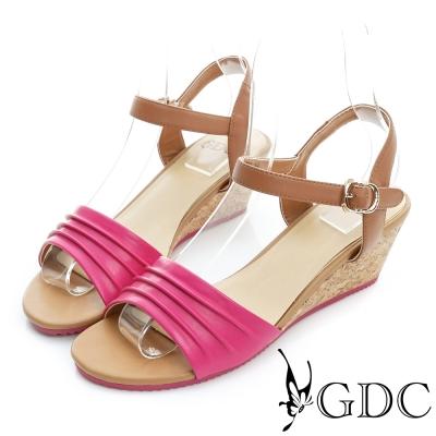 GDC-鞋面抓皺真皮軟木跟一字楔型涼鞋-桃紅色