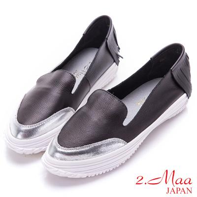 2.Maa-金屬流蘇柔軟牛皮樂福鞋-黑
