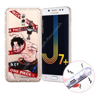 航海王 Samsung J7+/J7 Plus 透明軟式空壓殼(封鎖艾斯)