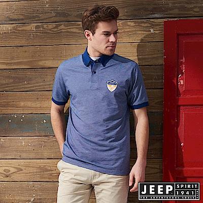 JEEP 美式休閒素面短袖POLO衫-藍色