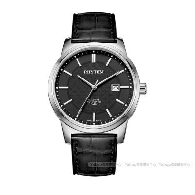 RHYTHM日本麗聲都會格紋英倫風自動機械腕錶VA 1501 L- 02 -黑/ 51 mm