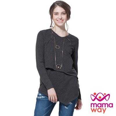 孕婦裝 哺乳衣 桃領剪接斜下擺長版孕哺上衣(共二色) Mamaway