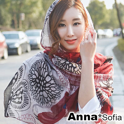 AnnaSofia 花線塗鴉 拷克邊韓國棉圍巾披肩(酒紅黑系)